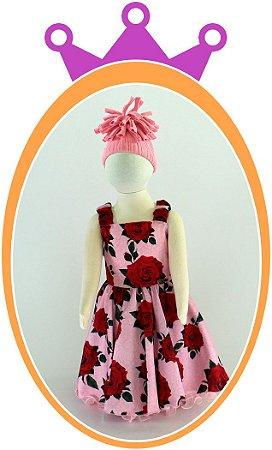 Vestido de Alça com Estampa de Flores Grandes Vermelhas - Cor: Rosa