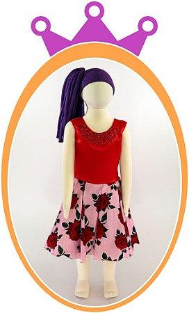 Vestido com Pérola e Saia Estampada Flores Vermelhas e Rosas