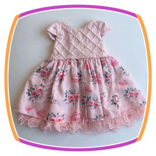 Vestido infantil Corpo Nervura com Pérola Bordada e Saia Estampa Flor