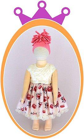 Vestido Corpo Nervura com Pérola Bordada e Saia Estampa Flor Pequena - Cor: Off White