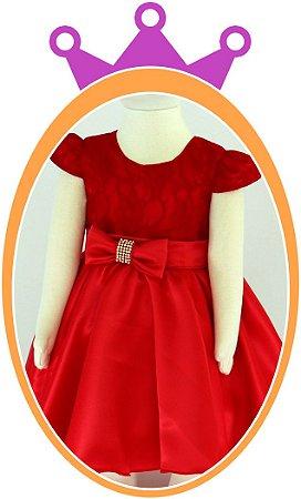 Vestido infantil Saia Lisa Com Cinto em Strass e Corpo em Renda