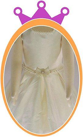 Vestido infantil em Tafetá com Colar e Cinto em Pérola