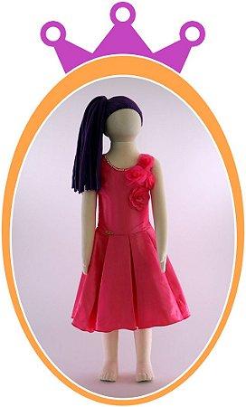 Vestido infantil Liso com Rosas Aplicadas e Colar em Pérola