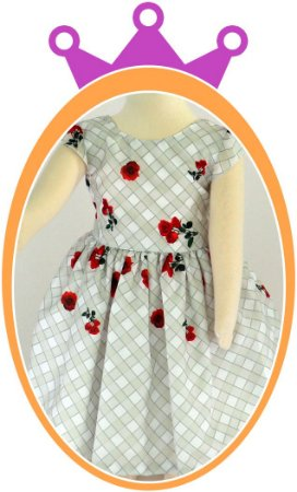 Vestido infantil em estampa quadriculada e Rosas Pequenas