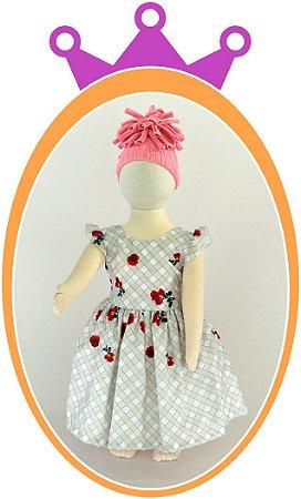 Vestido em estampa quadriculada e Rosas Pequenas - Cor: Cinza e Vermelho