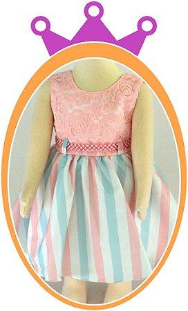 Vestido infantil Corpo em Renda e Saia em Tons Pastéis