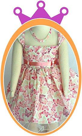 Vestido infantil Borboletas Rosas e Lilás