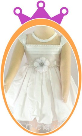Vestido infantil Maquinetado Pregas no Peito e Pérolas