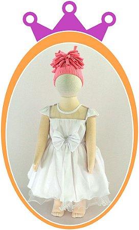 Vestido de Chifon com Strass - Cor: Branca