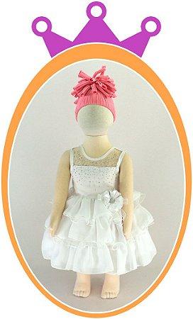 Vestido infantil com Transparência e Strass
