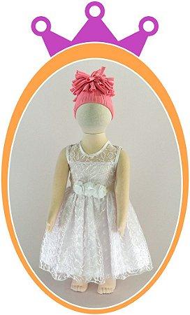 Vestido infantil em Renda Perla 1 e Cinto em Flor