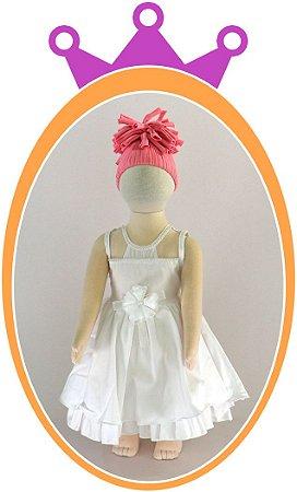 Vestido infantil com Transparência no Decote e Pérolas na Flor do Cinto