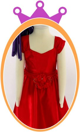 Vestido infantil Liso em Cetim e Flores no Cinto