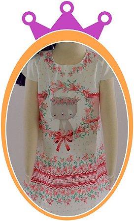 Vestido infantil em Super Cetim Estampa de Gatinho Rosa