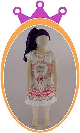 Vestido em Super Cetim Estampa de Gatinho Rosa