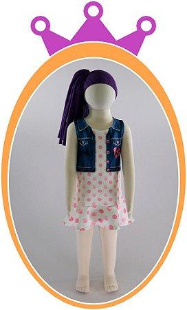 Vestido em Neoprene imitando Jaqueta Jeans com Poá Rosa