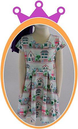 Vestido infantil em Neoprene com Estampa de Casa