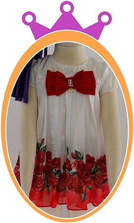 Vestido infantil em Chifon e Crepe com Rosas Vermelhas