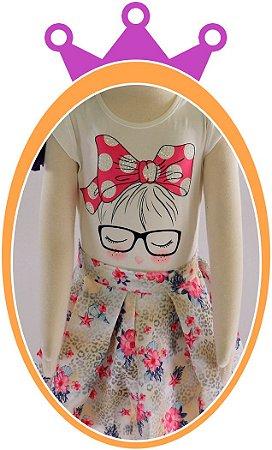 Conjunto infantil Saia Nylon Estampada e Blusa Cotton