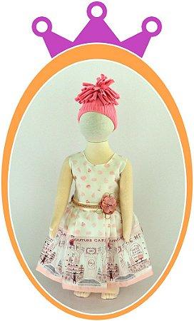 Vestido Estampa Country Cake e Cinto com Flor