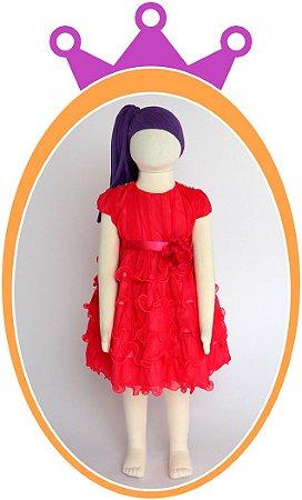 Vestido Rosa Pink com Saia em Camadas, Tule e Aplique de Strass no Ombro