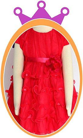 Vestido infantil Pink com Saia em Camadas e Tule