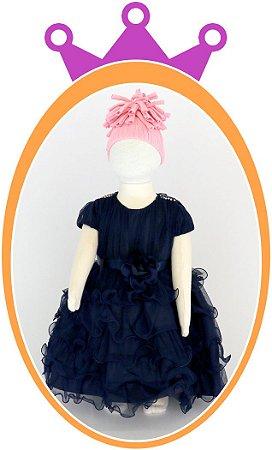 Vestido com Saia em Camadas, Tule e Aplique de Strass no Ombro - Azul Marinho