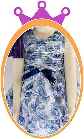 Vestido infantil Estampa Floral com Saia em Babados e Corpo Drapeado