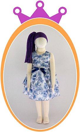 Vestido Estampa Floral com Saia em Babados e Corpo Drapeado