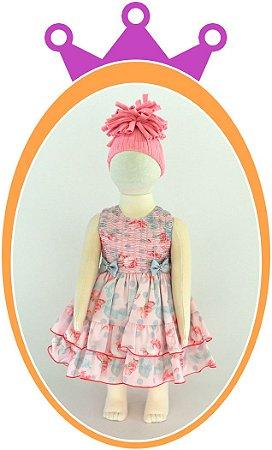 Vestido Drapeado Floral com Laços - Cor: Rosa e Cinza