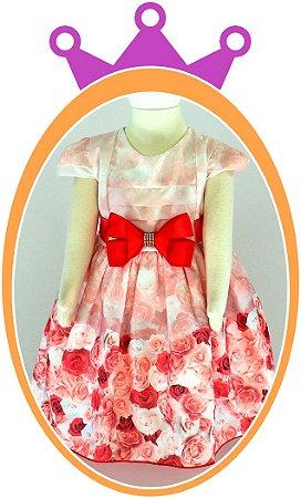 Vestido infantil Estampa Rosas Vermelhas e Cinto de Laço com Strass