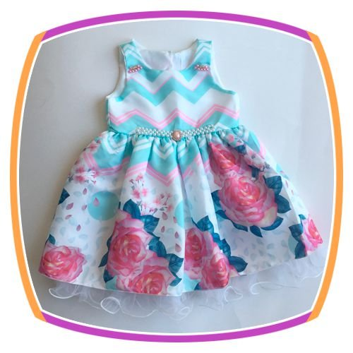 Vestido infantil Estampa Rosas Grandes e Aplique de Pérola