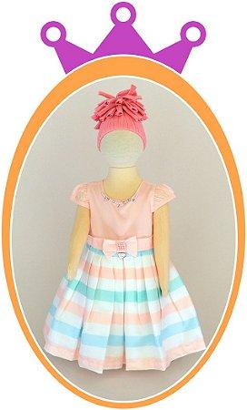 Vestido em Cetim  Rosa com Saia Estampa Listras e Aplique de Pérola no Cinto e no Colar