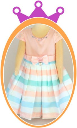 Vestido infantil em Cetim e Saia Listras e Aplique de Pérola