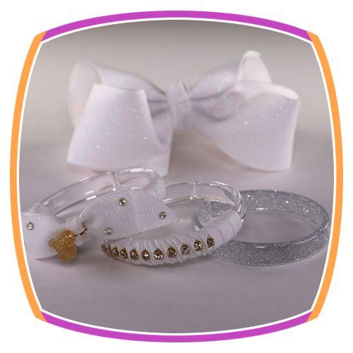 Kit de Fivela laço gorgurão e pulseiras em acrílico