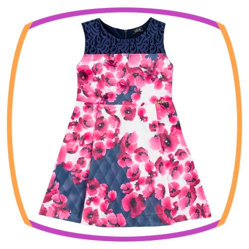 Vestido infantil em Super Cetim e Renda e Saia Estampada de Flores