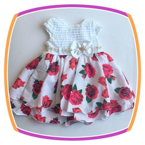 Vestido infantil Corpo em Nervura e Saia Estampada em Rosas