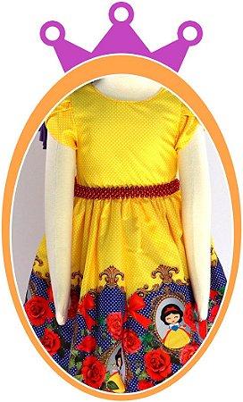 Vestido infantil Estampa da Branca de Neve