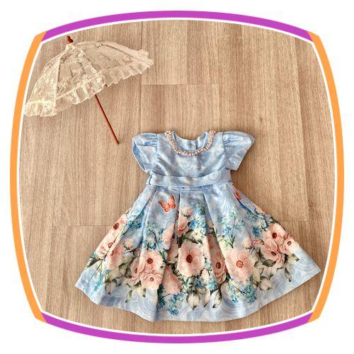 Vestido infantil Azul e Saia Estampada de Flores e Borboletas