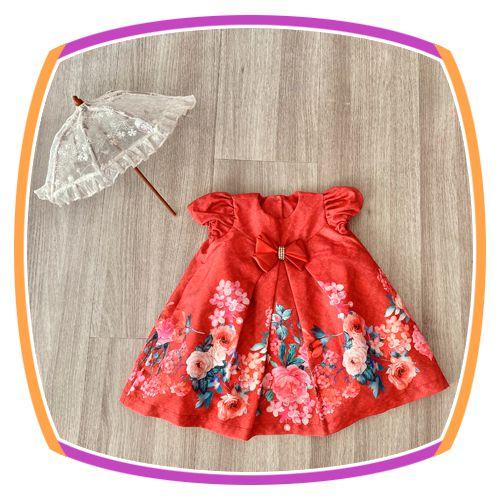 Vestido infantil Estampa de Flores no Barrado e Laço com Pedras