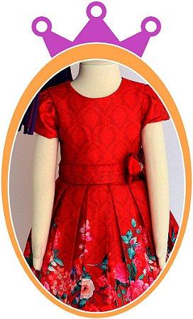 Vestido infantil Estampa de Flores no Barrado e Laço no Cinto