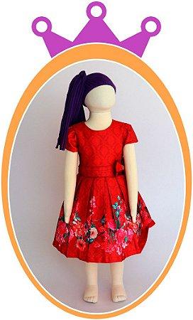 Vestido Vermelho com Estampa de Flores no Barrado e Laço no Cinto com Pedras