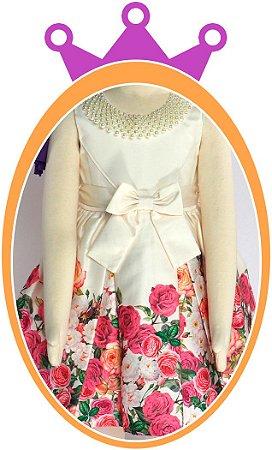 Vestido infantil Corpo Liso e Saia com Estampa de Rosas Coloridas