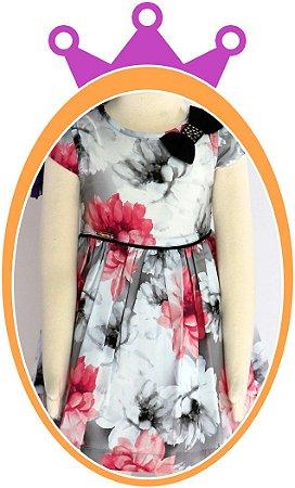 Vestido infantil Estampa de Flores Rosas, Cinza e Preto, Laço com Pedras