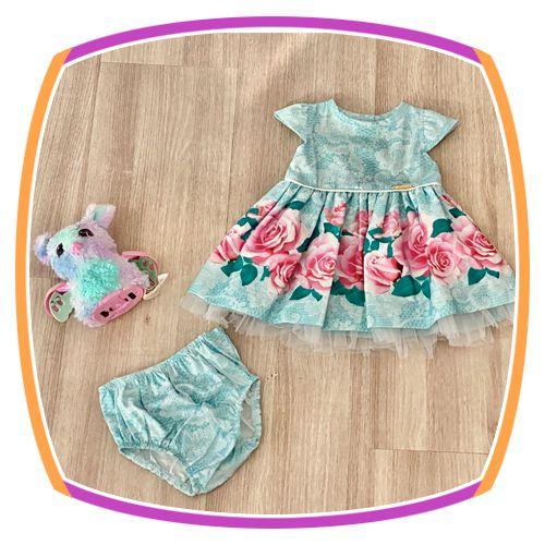 Vestido infantil com Aplique de Pedras e Barra da Saia Estampa de Flores