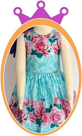 Vestido infantil Estampado de Flores Rosas com Aplique de Pedras