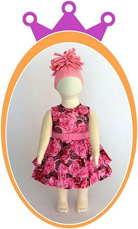 Vestido Rosa e Marrom com Estampa de Flores e Aplique de Flor no Ombro - Acompanha Tapa Fralda