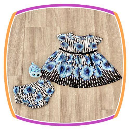 Vestido infantil Estampa Preta e Flores Azuis