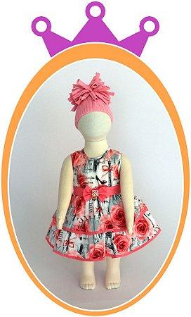 Vestido com Estampa Paris Rosa e Cinza e cinto em Pérolas - Acompanha Tapa Fralda