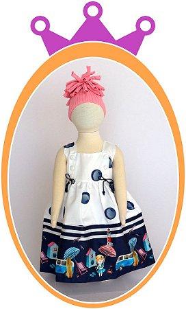 Vestido de Alça com Botões, Poá Azuis e Estampa de Praia na Barra